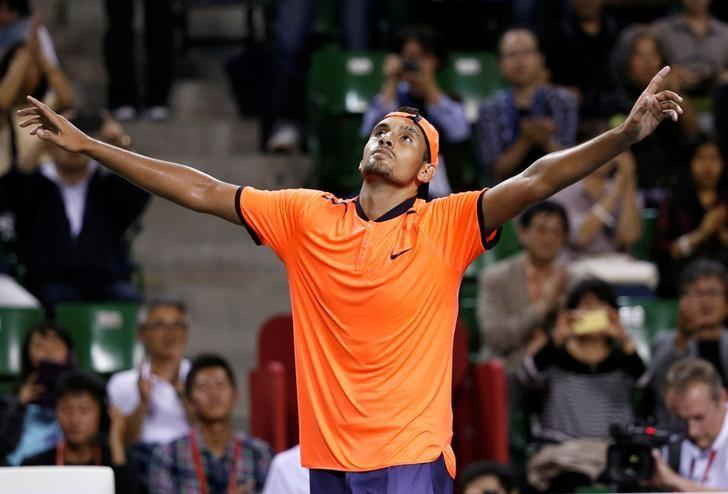 Tennis - Japan Open men's Singles Final Match - Ariake Coliseum, Tokyo, Japan - 09/10/16. Nick Kyrgios of Australia reacts after beating David Goffin of Belgium. REUTERS/Kim Kyung-Hoon/Files