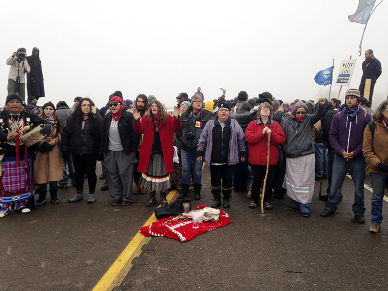 Protesters against the construction of the Dakota Access oil pipeline block a highway in near Cannon Ball, New Dakota, on Wednesday, October 26, 2016. Photo: AP