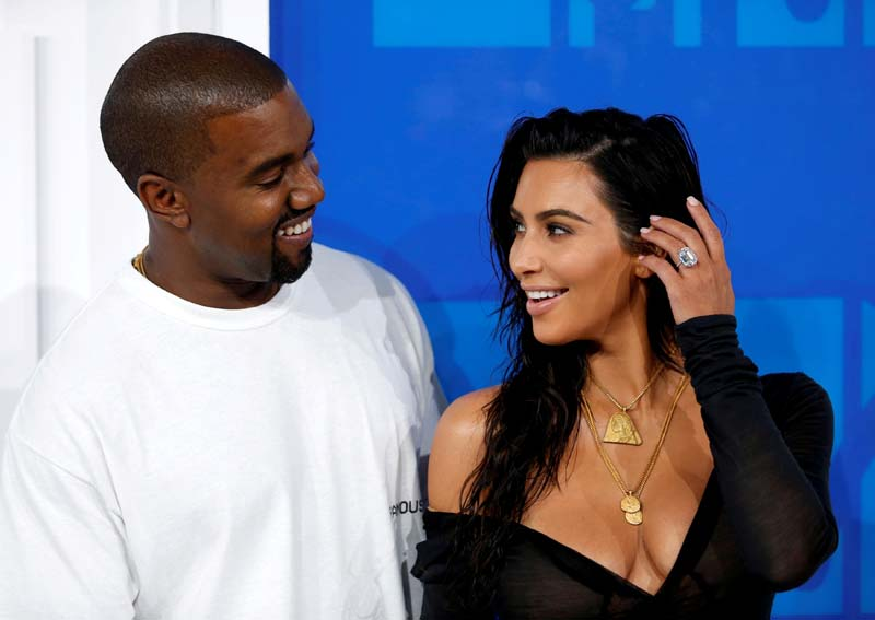 File- Kim Kardashian and Kanye West arrive at the 2016 MTV Video Music Awards in New York, US, on August 28, 2016. Photo: Reuters