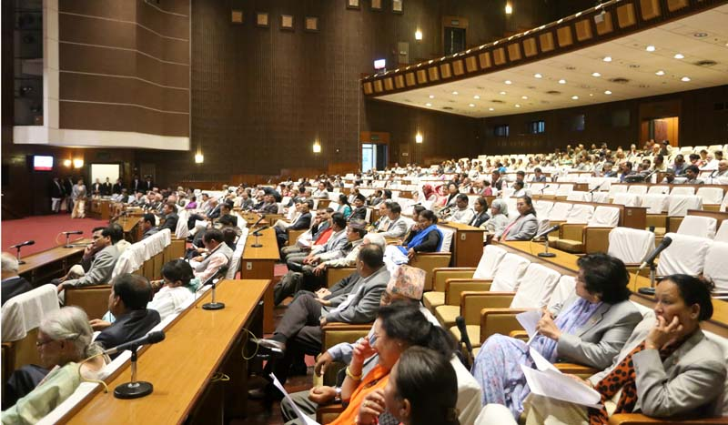 Lawmakers take part in the Parliament meeting, in Kathmandu, on Wednesday, October 19, 2016. The meeting formed an 11-member Impeachment Recommendation Committee. Photo: RSS