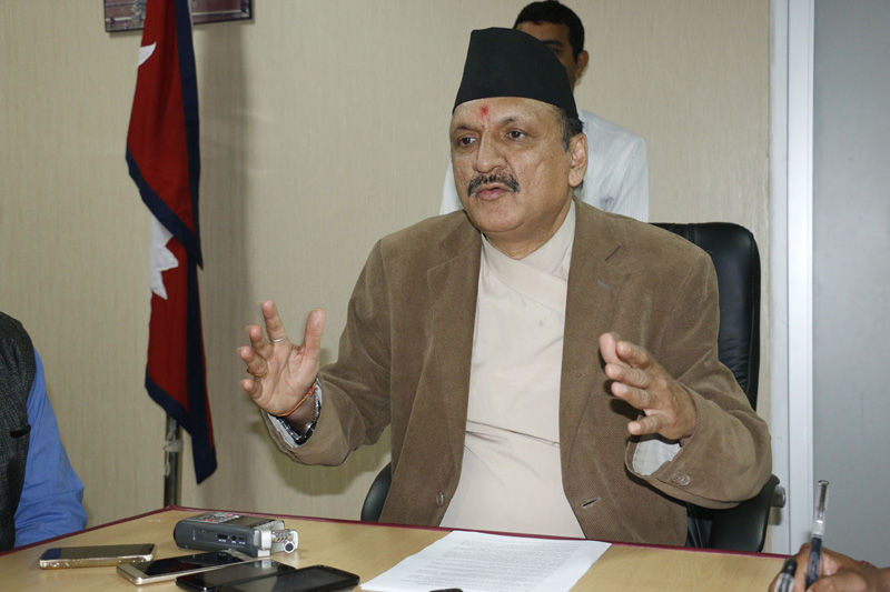 FILE: Minister for Foreign Affairs Prakash Sharan Mahat briefing journalists about Nepal's participation in the BRICS-BIMSTEC Outreach Summit in Goa of India, in Singha Durbar, Kathmandu, on Friday, October 14, 2016. Photo: RSS