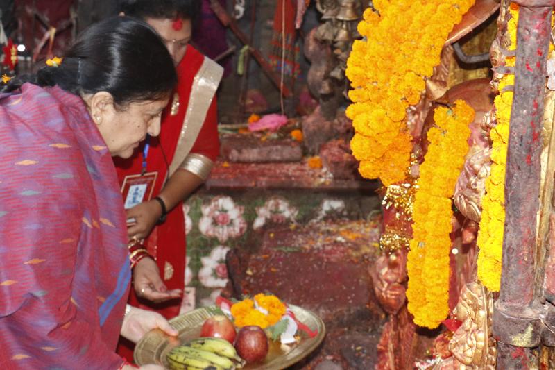 President Bidya Devi Bhandari offers prayers and worship at the Bhadrakali Temple in Kathmandu, on the day of Maha Ashtami, Sunday, October 9, 2016. Photo: RSS