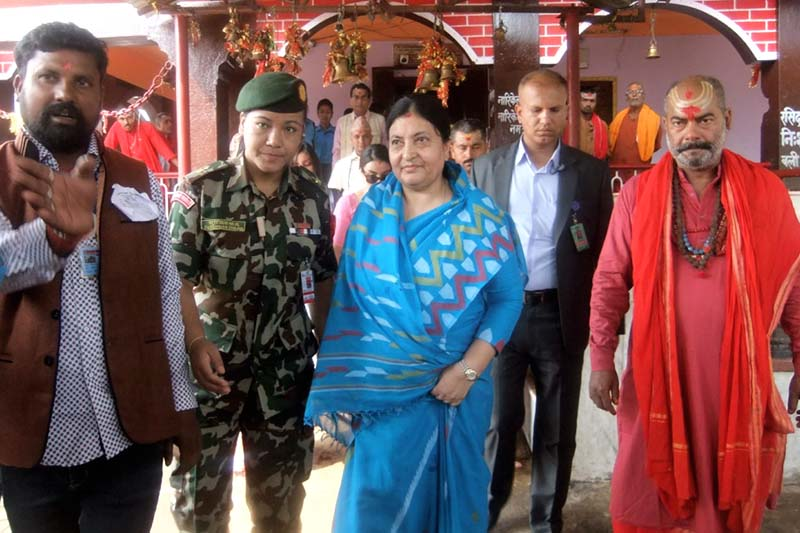 President Bidya Devi Bhandari arrives at the Chhinnamasta Bhagawati Temple to inaugurate the Rudra Chandi Mahayagya, in Saptari, on Saturday, October 22, 2016. Photo: Byas Shankhar Upadhaya/ THT