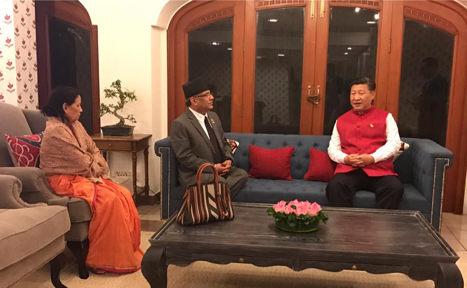 Nepal's Prime Minister Dahal first held a meeting with Chinese President Xi Jinping. Photo: Facebook/Prakash Dahal