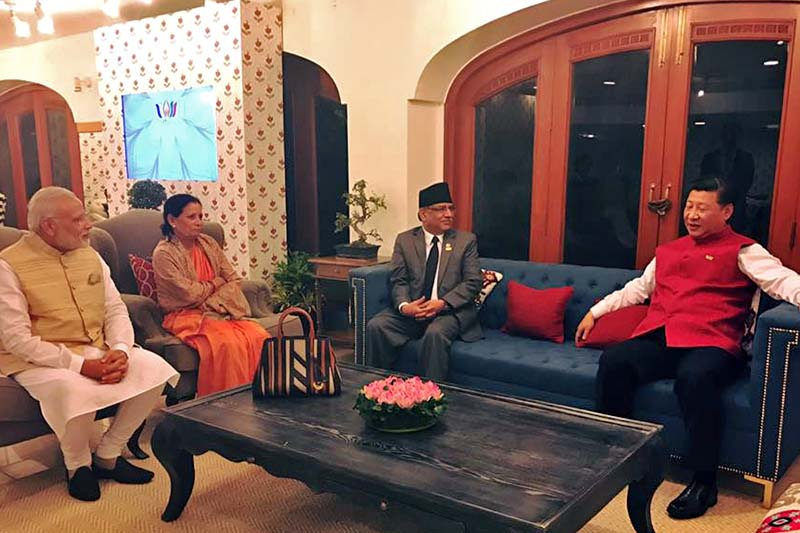 (From right) Chinese President Xi Jinping, Prime Minister Pushpa Kamal Dahal, Sita Dahal and Indian Prime Minister Narendra Modi in a meeting at Goa on Saturday, October 15, 2016. Photo Courtesy: Prakash Dahal