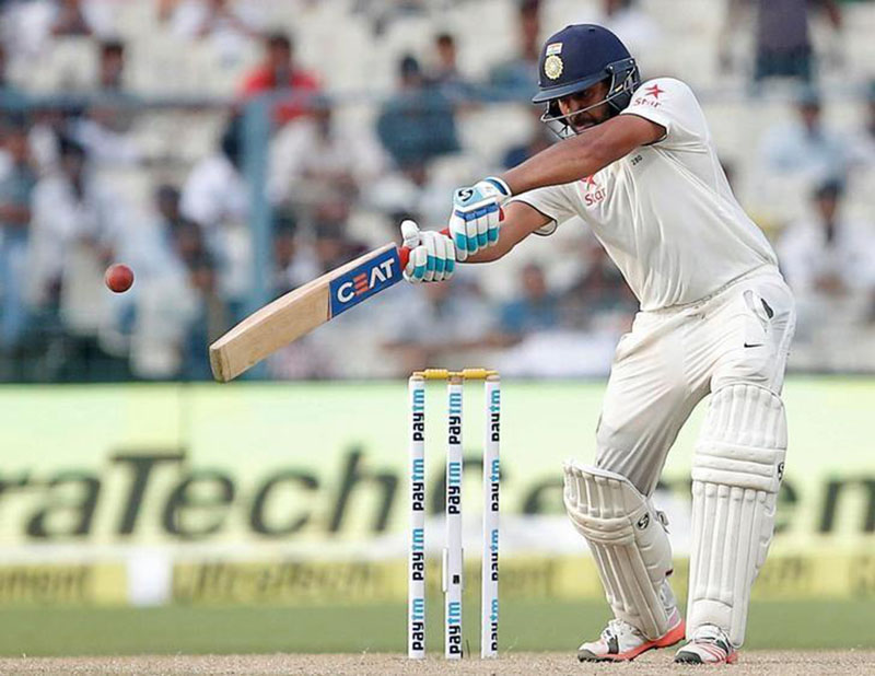India's Rohit Sharma plays a shot during the Second Test cricket match at Eden Gardens, in Kolkata, India, on Sunday, October 2, 2016. Photo: Reuters