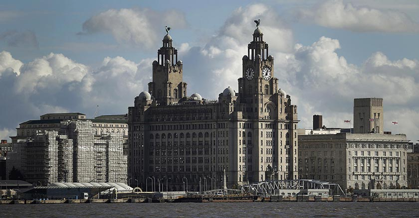Liverpool's iconic waterfront property the Royal Liver building is viewed across the River Mersey in Birkenhead , northern England October 17 , 2016. The 105 year old  building is to be sold for the first time, for an expected 40 million pounds ($50 million). REUTERS/Phil Noble