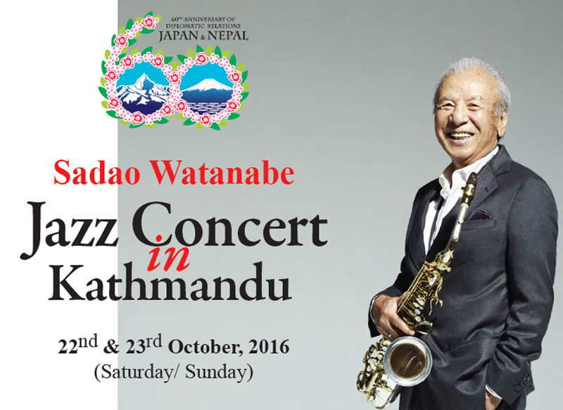 Sadao Watanabe Jazz Concert in Kathmandu on October 22 and 23, 2016.