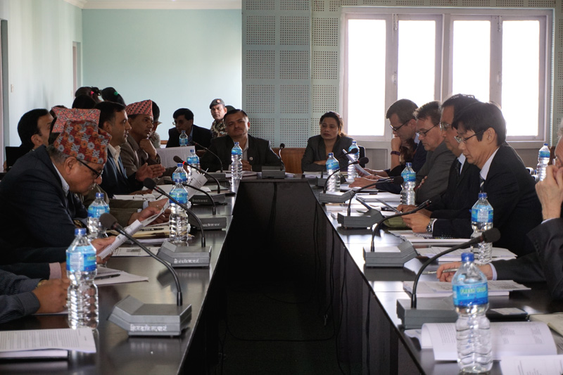 Minister for Education Dhaniram Paudel (center) discusses the School Sector Development Plan (SSDP) 2016-2023  with the key development partners in the Capital, on Friday, October 28, 2016. Photo: Delegation of the European Union to Nepal