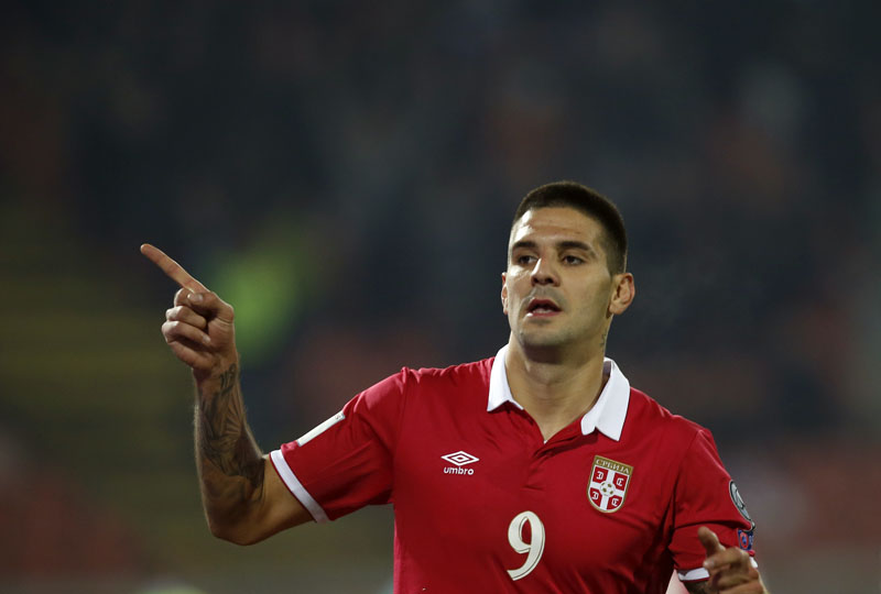 Serbia's Aleksandar Mitrovic celebrates after scoring the second goal of his team during their World Cup Group D qualifying match at the Rajko Mitic Stadium in Belgrade, Serbia, on Sunday, October 9, 2016. Photo: AP