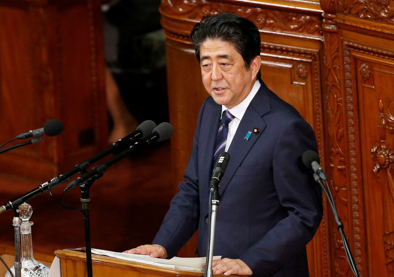 Japanese Prime Minister Shinzo Abe gives an address at the start of the new parliament session at the lower house of parliament in Tokyo, Japan, on September 26, 2016. Photo: Reuters