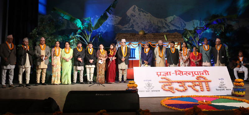 Artists perform a Deusi-Bhailo song during a programme organised by the Sisnupani Nepal in Kathmandu, on Sunday, October 30, 2016. Photo: RSS