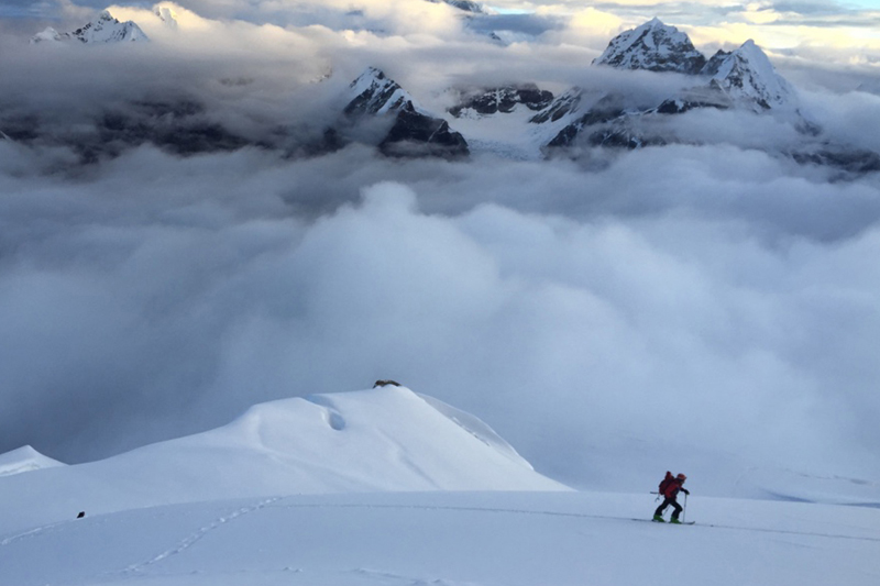 A man is skiing at a Mera Peak in Solukhumbu district, on Thursday, October 6, 2016. Photo: RSS