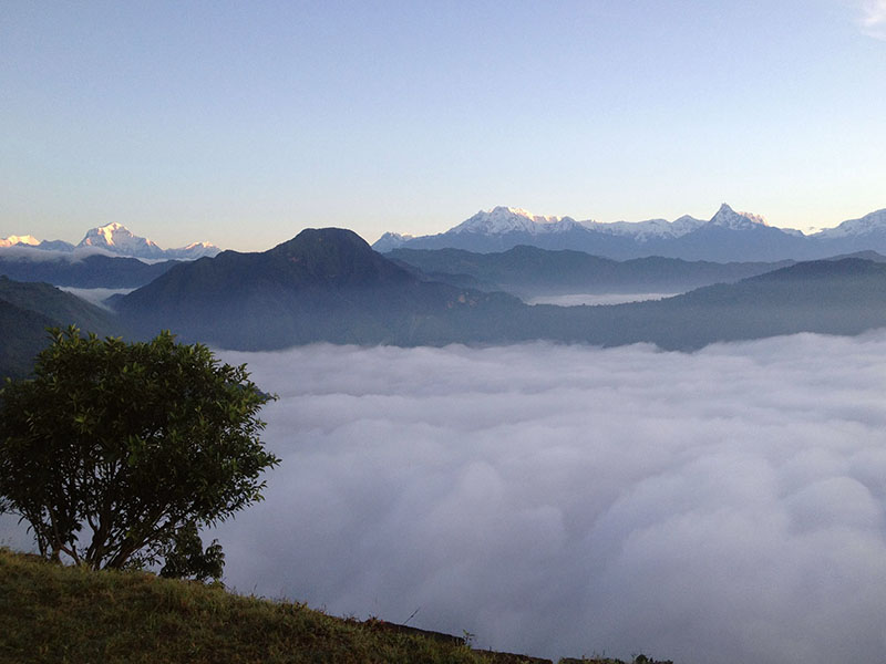 A panoramic view of the Annapurna Mountain Range basks the sunrise as seen from Sworek of Syangja district. Photo: RSS
