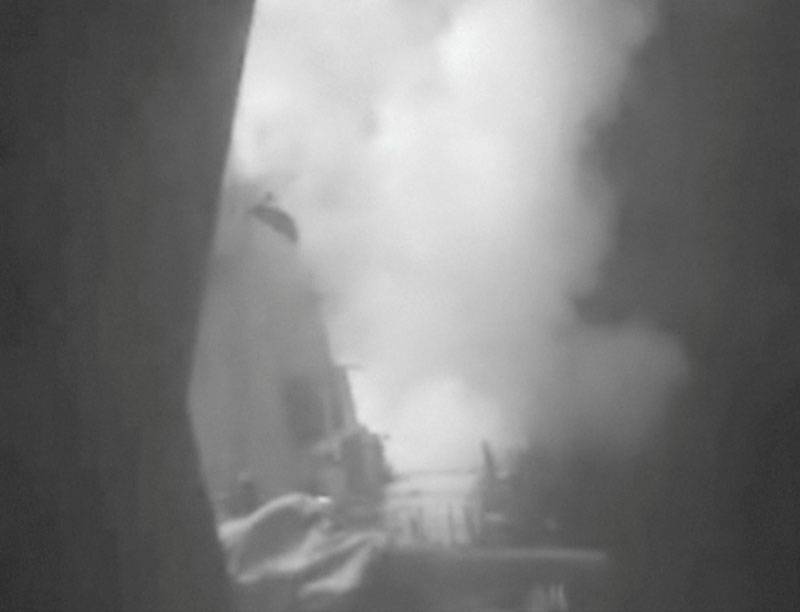 A still image from video released October 13, 2016 shows US military launching cruise missile strikes from US Navy destroyer USS Nitze to knock out three coastal radar sites in areas of Yemen controlled by Houthi forces. Photo: Reuters