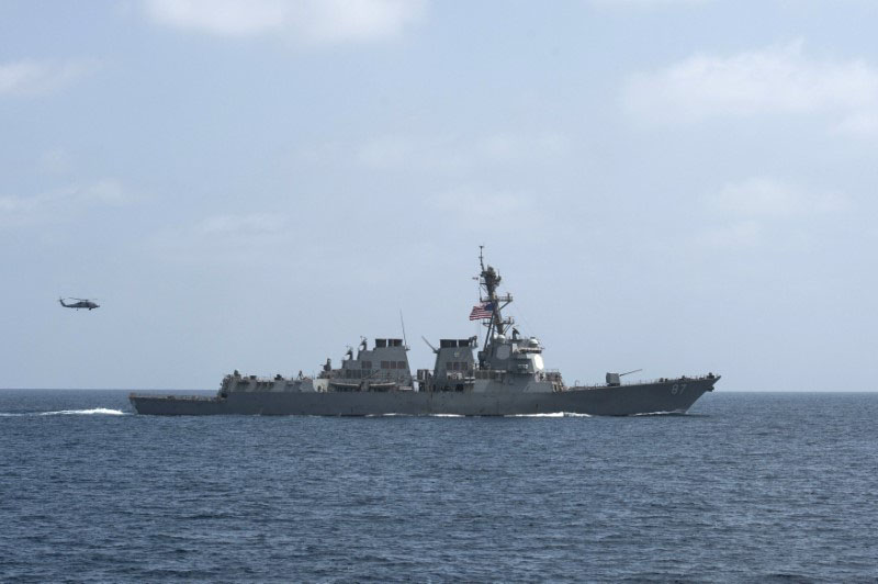 The US Navy guided-missile destroyer USS Mason conducts divisional tactic maneuvers as part of a Commander, Task Force 55, exercise in the Gulf of Oman September 10, 2016. Photo: US Navy via Reuters