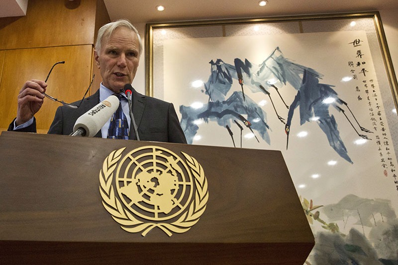 FILE -  United Nations Special Rapporteur on extreme poverty and human rights, Philip Alston speaks during a news conference held in Beijing, China,  on August 23, 2016. Photo: AP