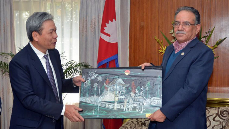 Non-residential Vietnamese Ambassador to Nepal Ton Sinh Thanh pays a courtesy call on Prime Minister Pushpa Kamal Dahal at the latteru0092s official residence in Baluwatar, Kathmandu on Monday, October 24, 2016. Photo: PM's Secretariat