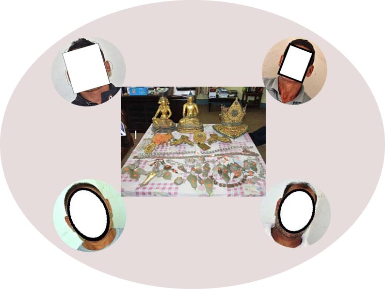 Four suspects involved in the theft of Buddha idols and other artefacts of archaeological significance from a Buddhist temple in Lalitpur have been remanded in custody for investigation. Photo: Metropolitan Police Range Lalitpur