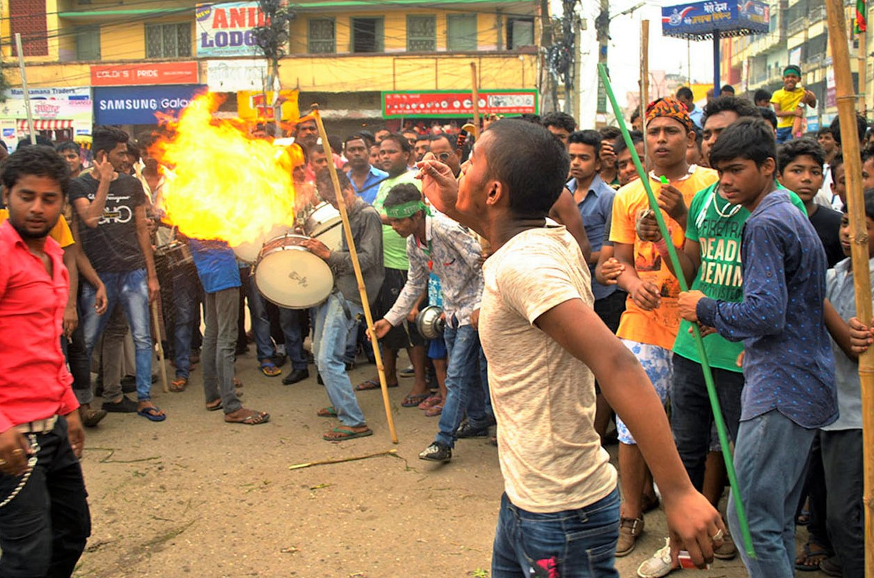 A young man exhibits a fire show amid a programme organised to mark Muharam (Daha Parva) of the Muslim community, in Parsa district, on Wednesday, October 12, 2016. Photo: RSS