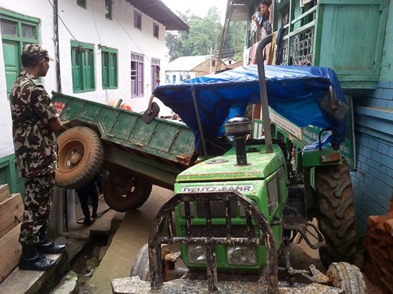 FILE: The image shows the tractor Ko 2 Ta 2795 which hit two pedestrians near Charbhanjyang Chok in Bhojpur district, on Satruday, October 1, 2016. Photo: Niroj Koirala/THT