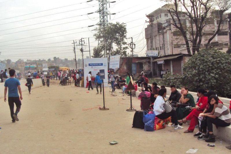 travellers await at Balkhu