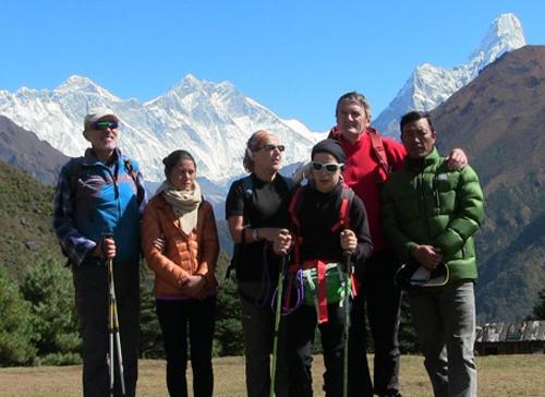 A group of Italian trekkers including visually impaired Burno Borrelli and Gabriele Scorsolini in Namche of the Everest region in October 2016. Photo: Stefani Gallo