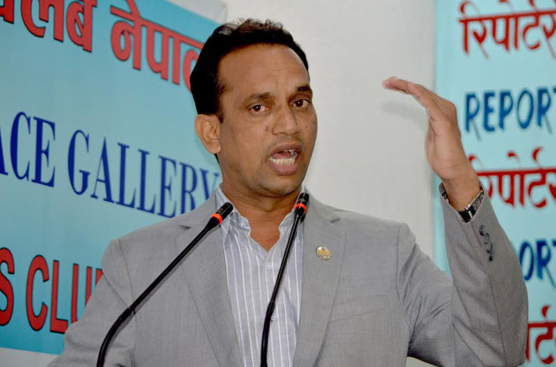 FILE: Minister for Law, Justice and Parliamentary Affairs Ajaya Shankar Nayak addresses journalists at an interaction programme in Kathmandu on Monday, November 07, 2016. Photo: Reporters' Club