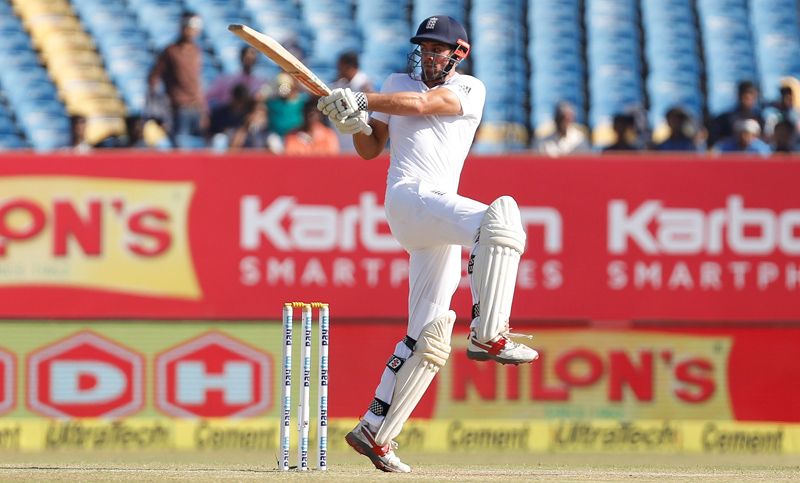 England's captain Alastair Cook plays a shot. Photo: Reuters