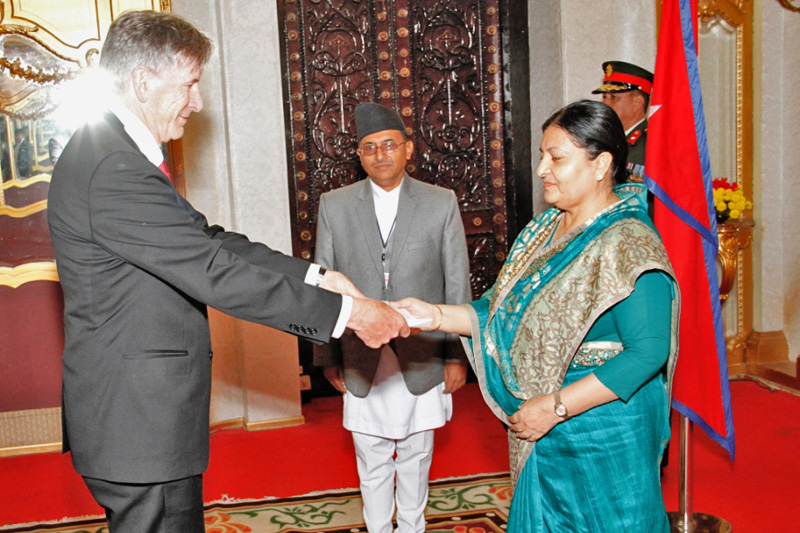 Ambassador of Switzerland to Nepal Jorg Giovanni Frieden presents the letter of credence to President Bidya Devi Bhandari at a special ceremony held at the Sheetal Niwas, in Kathmandu, on Thursday, November 10, 2016. Photo: The President's Office