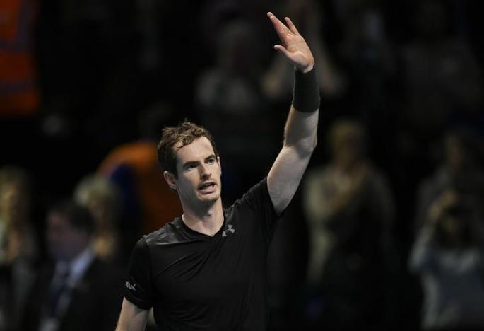 Britain Tennis - Barclays ATP World Tour Finals - O2 Arena, London - 16/11/16 Great Britain's Andy Murray celebrates winning his round robin match against Japan's Kei Nishikori  Action Images via Reuters / Tony O'Brien Livepic EDITORIAL USE ONLY.