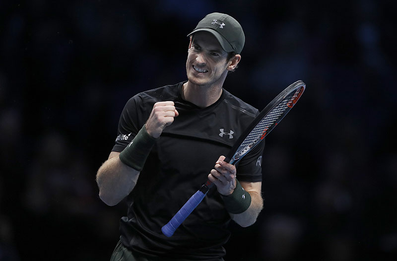 Andy Murray of Britain reacts during his ATP World Tour Finals singles final tennis match against Novak Djokovic of Serbia at the O2 Arena in London, on Sunday, November 20, 2016. Photo: AP