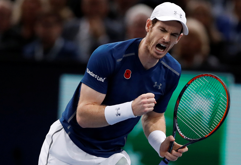 Andy Murray of Britain reacts during Paris Masters tennis tournament men's singles final against John Isner of the US in Paris, on Sunday, November 6, 2016. Photo: Reuters