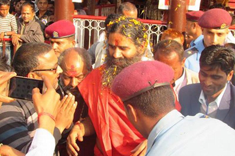 Popular yoga guru from India, Baba Ramdev, visits the famous Chhinnamasta Temple in Saptari district, on Saturday, November 26, 2016. Photo: Byas Shankar Upadhyaya