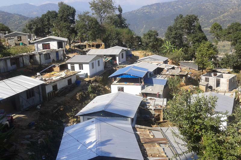 Earthquake-resistant shelters constructed in a Danuwar settlement in Gairibisauna Deupur-3 of Kavrepalanchok district, as captured on Sunday, November 13, 2016. Photo: RSS