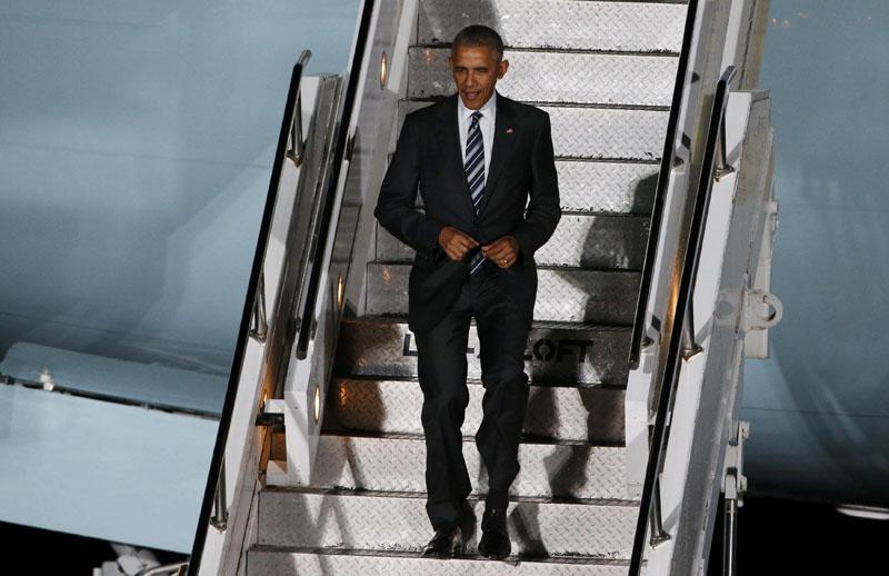 US President Barack Obama arrives at theTegel airport in Berlin, Germany, on November 16, 2016. Photo: Reuters