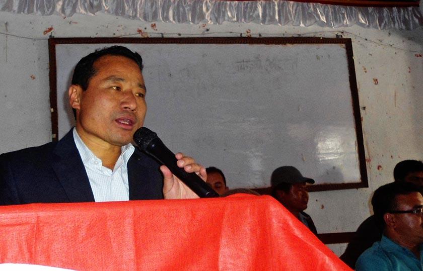 CPN Maoist Centre leader Barsha Man Pun addressing a cadres meet in Morang. Photo: RSS