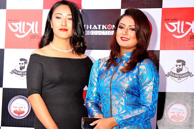 Cine artists Preksha Bajracharya (left) and Barsha Raut pose for a photograph during the premier show of Jatra, in Kathmandu, on Thursday, November 10, 2016. Photo: RSS