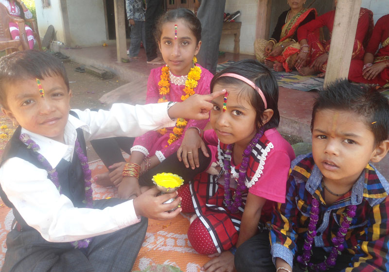 Brother offers tika and garland to his sister on the auspicious occasion of Bhaitika in Shaktikhor village of Chitwan district, on Tuesday, November 1, 2016. Photo: RSS