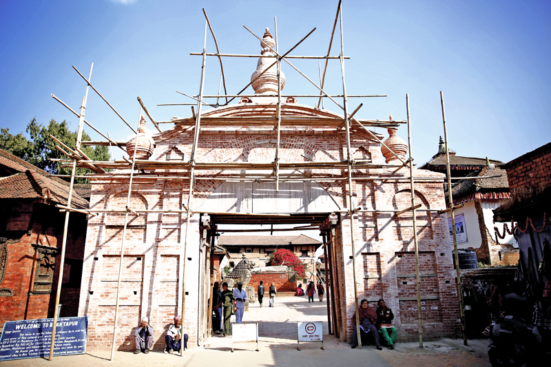 Reconstruction of the Bhaktapur Durbar Square as captured on Thursday, November 10, 2016. Photo: THT