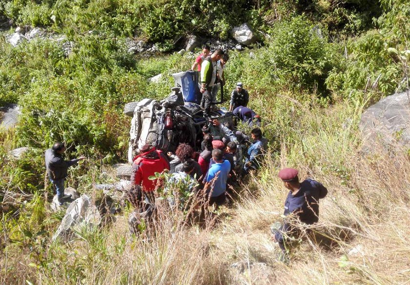 Security personnel and other people at the accident site. Photo Courtesy: Twitter/ Kamal Thapa