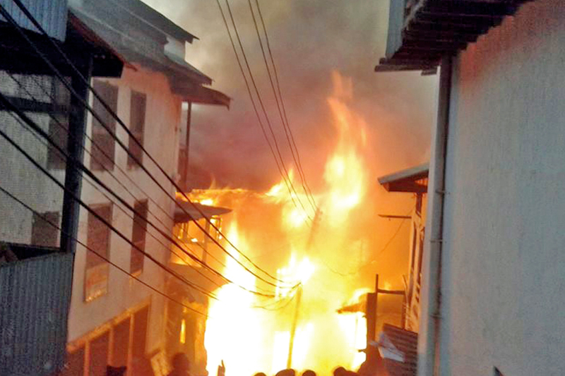 Fire rages in the Bhotepasal area of Bhojpur Bazaar, on Sunday, November 20, 2016. Photo: RSS