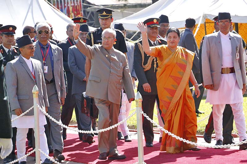 Nepali President Bidya Devi Bhandari and her Indian counterpart Pranab Mukherjee waves at the audience upon the latter's arrival at the Tribhuvan International Airport, on Wednesday, November 2, 2016. Photo: RSS