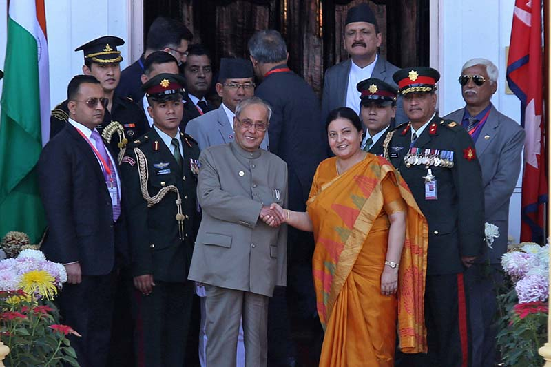 Nepali President Bidya Devi Bhandari shakes hands with her Indian counterpart Pranab Mukherjee during a welcome programme at the Sheetal Niwas, on Wednesday, November 2, 2016. Photo: RSS