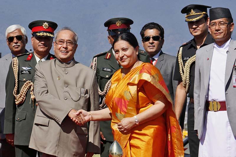 Nepali President Bidya Devi Bhandari welcomes her Indian counterpart Pranab Mukherjee at the Tribhuvan International Airport, on Wednesday, November 2, 2016. Photo: RSS