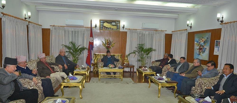Top leaders of three major partiesu2014Nepali Congress, CPN-UML and CPN Maoist Centreu2014take part in a meeting at Baluwatar on Monday evening. Photo: PM's Secretariat
