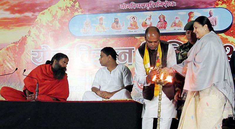 President Bidya Devi Bhandari inaugurates Yoga Camp-2073 organised at Birgunj-based Adarshanagar Stadium, on Thursday, November 24, 2016. Photo: Ram Sarraf