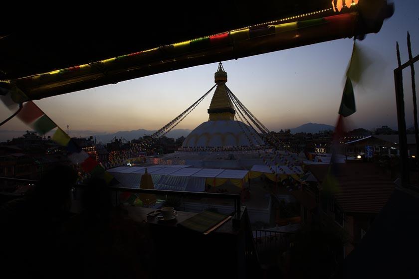 The ancient Bouddhanath Stupa as seen after the sunset on Saturday, November 19, 2016. Photo: Skanda Gautam