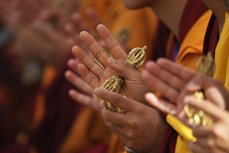 Buddhist monks perform rituals during the purification ceremony of Boudhanath stupa. Photo: AP