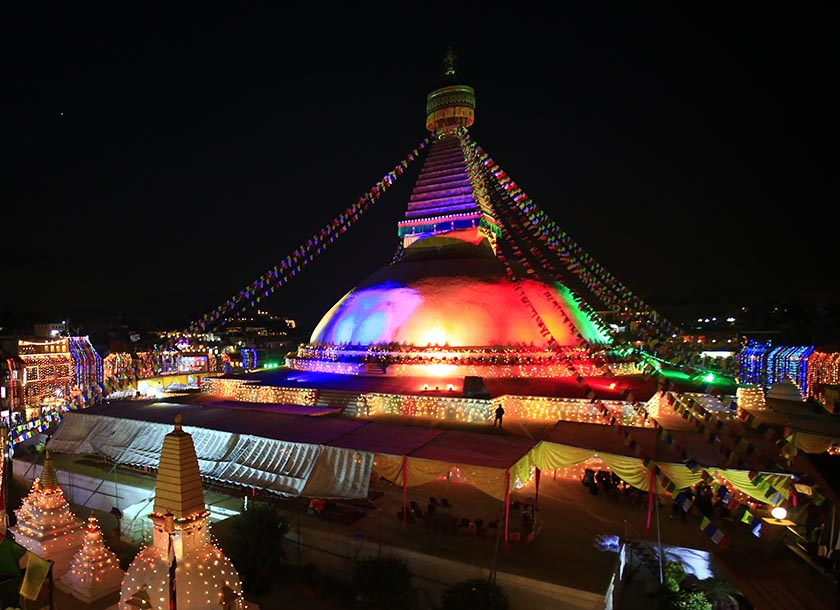 The Bouddhanath Stupa glows in the evening lights on Saturday, November 19, 2016. Acknowledged as a UNESCO World Heritage Site in the Kathmandu Valley, the ancient Buddhist site recently underwent a renovation after the Nepal earthquake on April 25, 2015 partially damaged it. The stupa would be formally opened to the public on Tuesday, November 22. Photo: Skanda Gautam